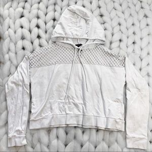 Athletic Forever21 Hoodie White Size Large